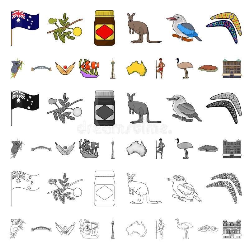 Het beeldverhaalpictogrammen van Australië van het land in vastgestelde inzameling voor ontwerp Reis en van het aantrekkelijkhede vector illustratie