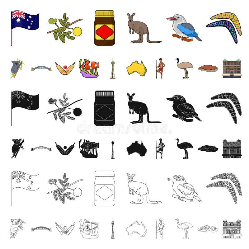 Het beeldverhaalpictogrammen van Australië van het land in vastgestelde inzameling voor ontwerp Reis en van het aantrekkelijkhede stock illustratie