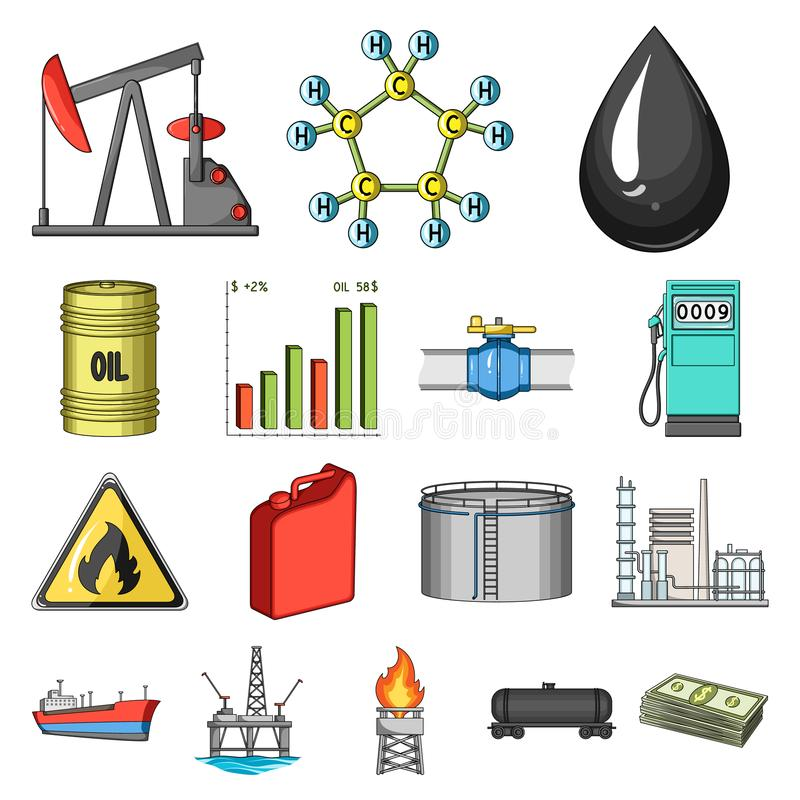 Het beeldverhaalpictogrammen van de olieindustrie in vastgestelde inzameling voor ontwerp Materiaal en de voorraadweb van het oli vector illustratie