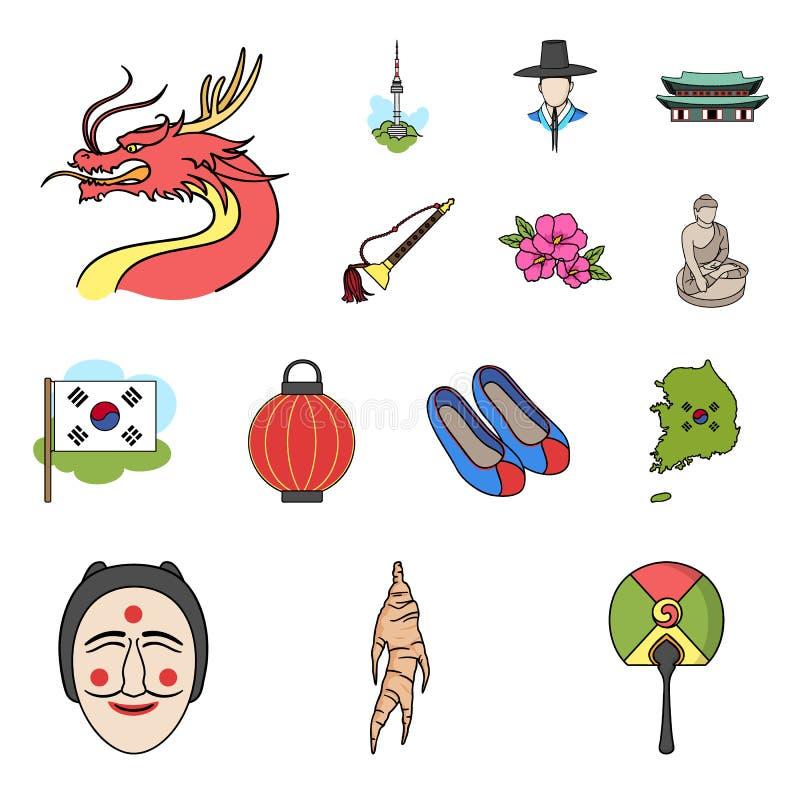 Het beeldverhaalpictogrammen van Zuid-Korea van het land in vastgestelde inzameling voor ontwerp Reis en aantrekkelijkheids het v stock illustratie