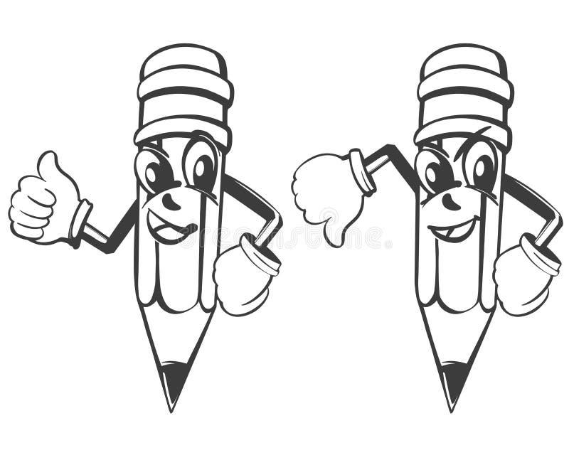 Het beeldverhaalpotlood drukt emoties, als en afkeer vastgestelde vectorillustratieschets uit royalty-vrije illustratie