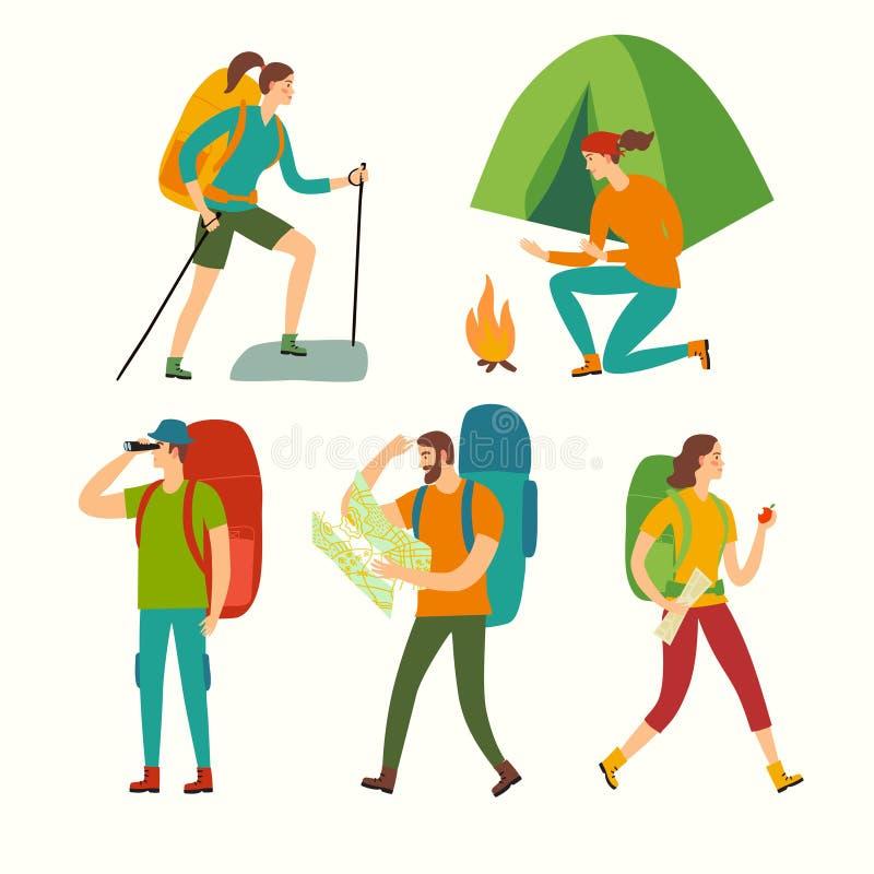 Het beeldverhaalreeks van wandelingsmensen royalty-vrije illustratie