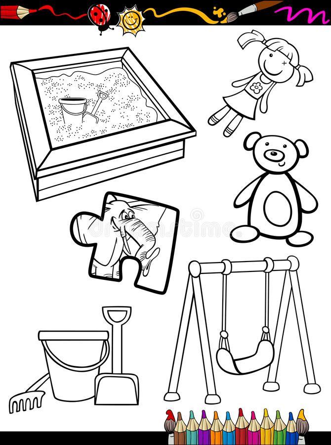 Het beeldverhaalspeelgoed heeft bezwaar kleurend pagina stock illustratie