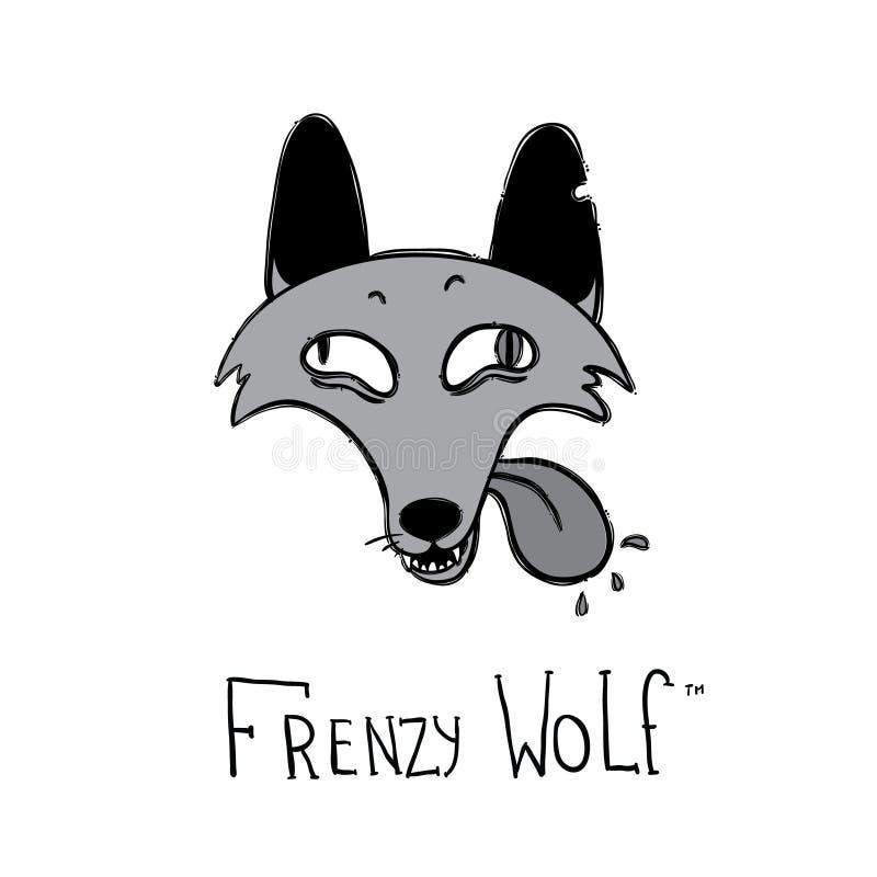 Het beeldverhaalstijl van de waanzinwolf logotype stock illustratie