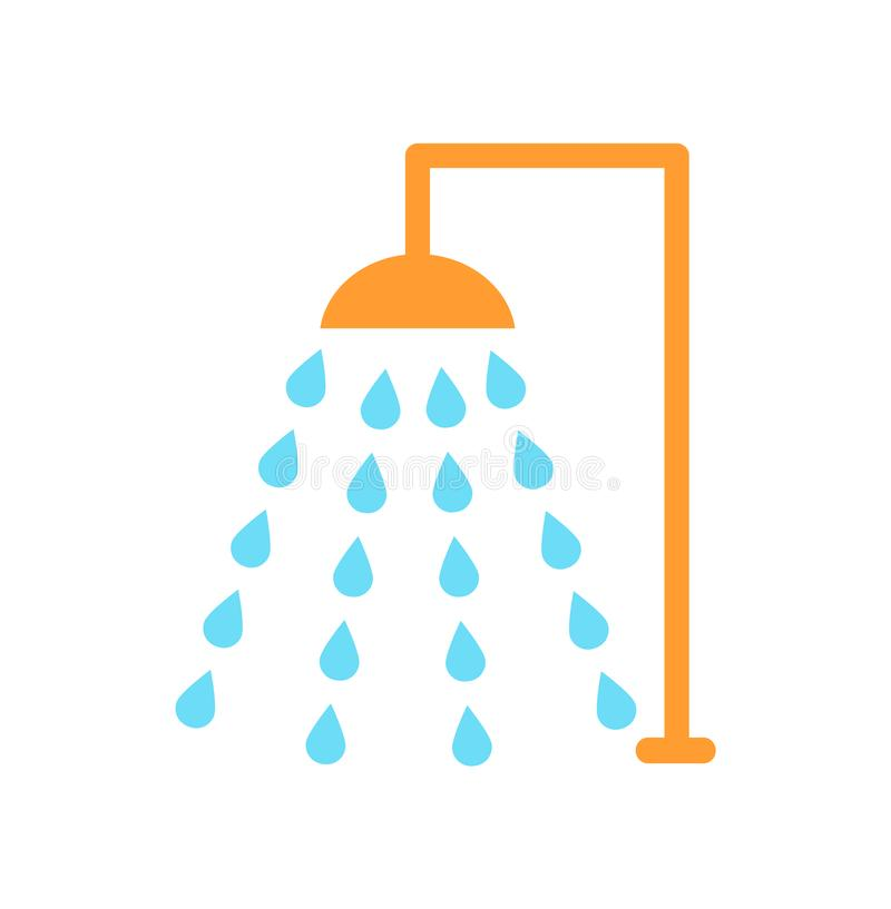 Het Beeldverhaalstijl van het doucheembleem Geïsoleerde Vectorpictogram stock illustratie