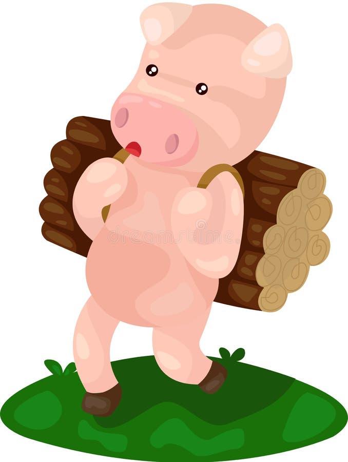 Het beeldverhaalvarken draagt brandhout vector illustratie