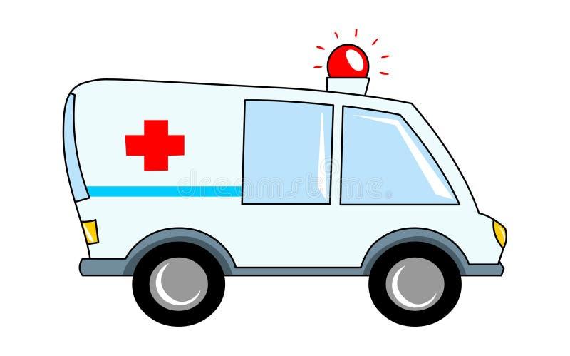 Het beeldverhaalvoertuig van de ziekenwagenillustratie Rood kruisbestelwagen stock illustratie