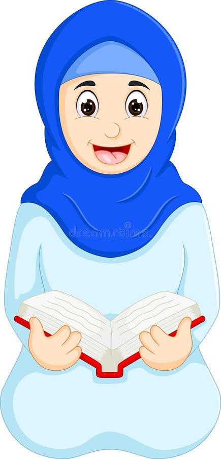 Het beeldverhaalzitting van de schoonheids Islamitische vrouw met lezingsboek royalty-vrije illustratie