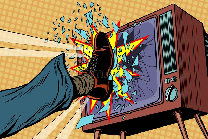 Het been breekt TV, concepten vals nieuws stock illustratie