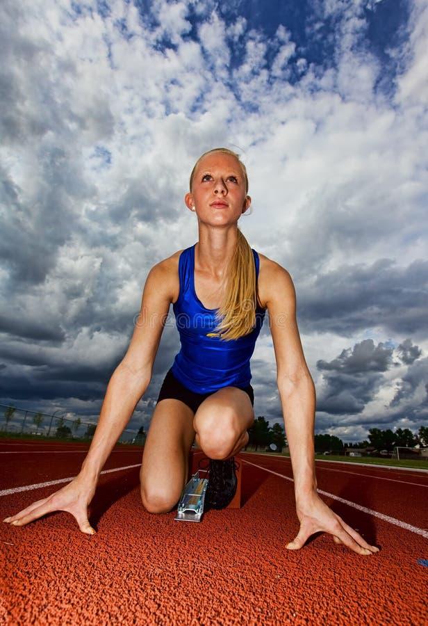 Het begin van de atleet royalty-vrije stock afbeeldingen