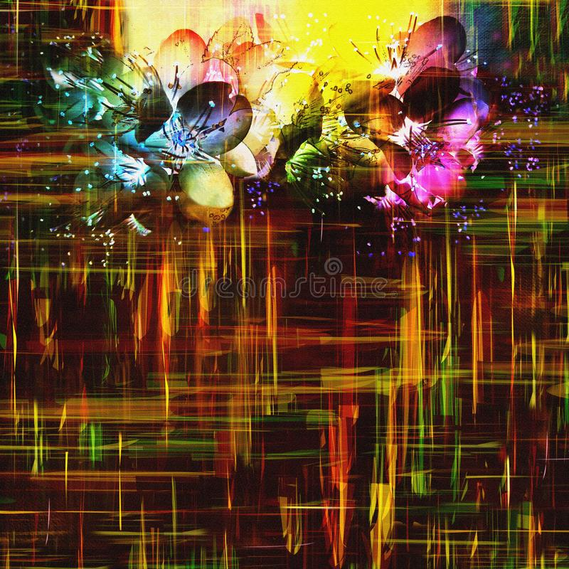 Het begroeten van bloemenkaart met gestileerde glanzende bloemen op grunge geruite donkere achtergrond royalty-vrije illustratie