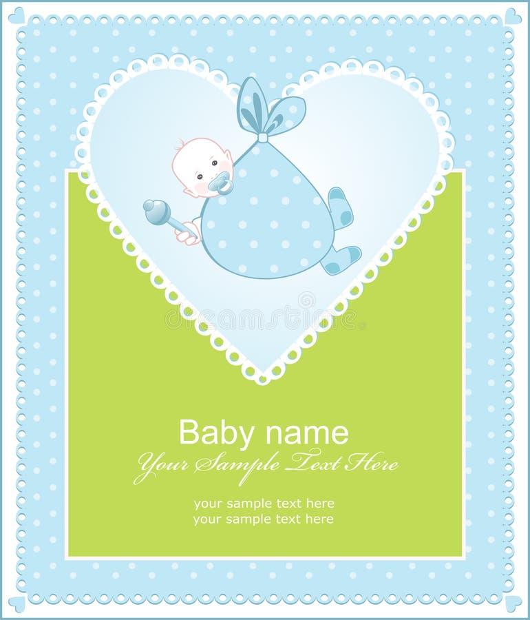 Het begroeten van de geboorte van een jongen met een hart stock illustratie