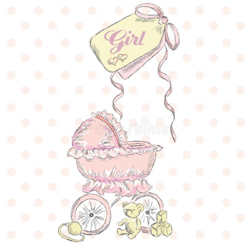 Het begroeten van de geboorte van een meisje Kinderenprentbriefkaar De punten van kinderen Rolstoel Uitstekende prentbriefkaar stock illustratie