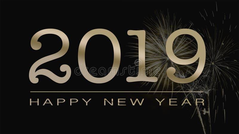 Het begroeten van gelukkige nieuwe het jaarkaart van 2019 in goldemtekst op zwarte backgr royalty-vrije illustratie