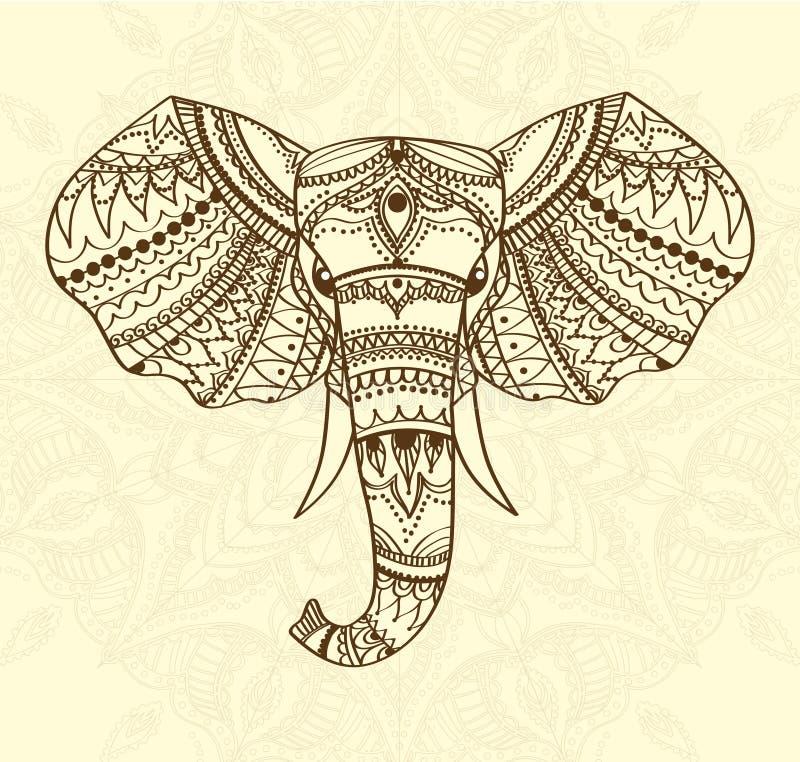 Het begroeten van Mooie kaart met Indisch gevormd hoofd van olifant Vector illustratie Gebruik voor druk, affiches, t-shirts of royalty-vrije illustratie