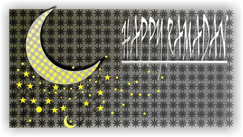 Het het behangontwerp van het Ramadanfestival, glanst maan in witte & gele ster, die ster in ketting hangen Gelukkige Ramadan stock illustratie
