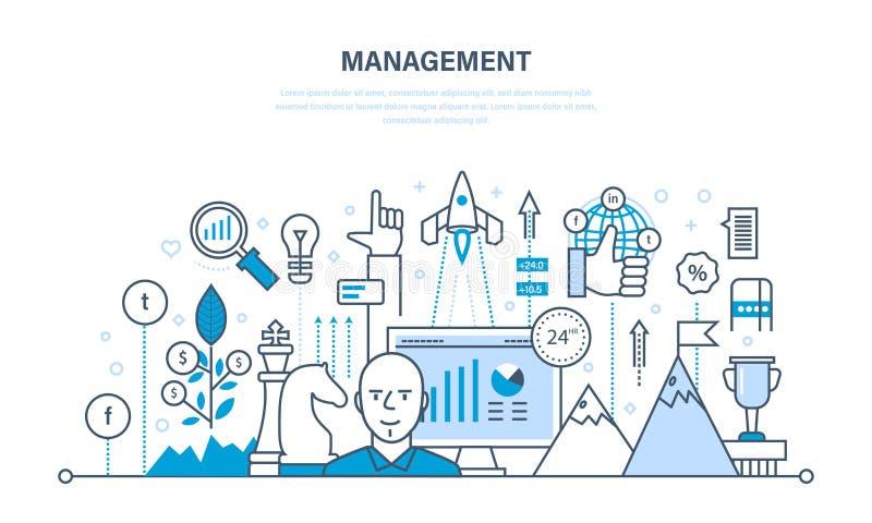 Het beheer, organisatie van het werken verwerkt en tijd, bedrijfs planning, groepswerk royalty-vrije illustratie