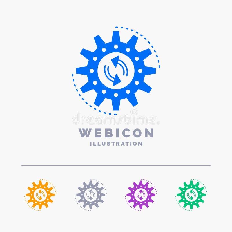 het beheer, proces, productie, taak, werkt geïsoleerde het Malplaatje van het het Webpictogram van 5 Kleurenglyph aan wit Vector  vector illustratie