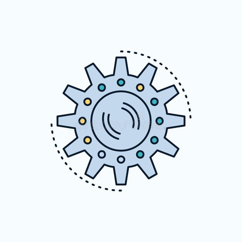 het beheer, proces, productie, taak, werkt Vlak Pictogram groene en Gele teken en symbolen voor website en Mobiele appliation Vec vector illustratie