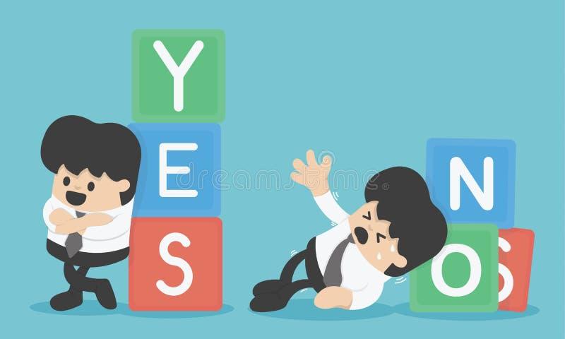 Het beheer van het risico De illustratie van het bedrijfsconceptenbeeldverhaal ja of nr vector illustratie