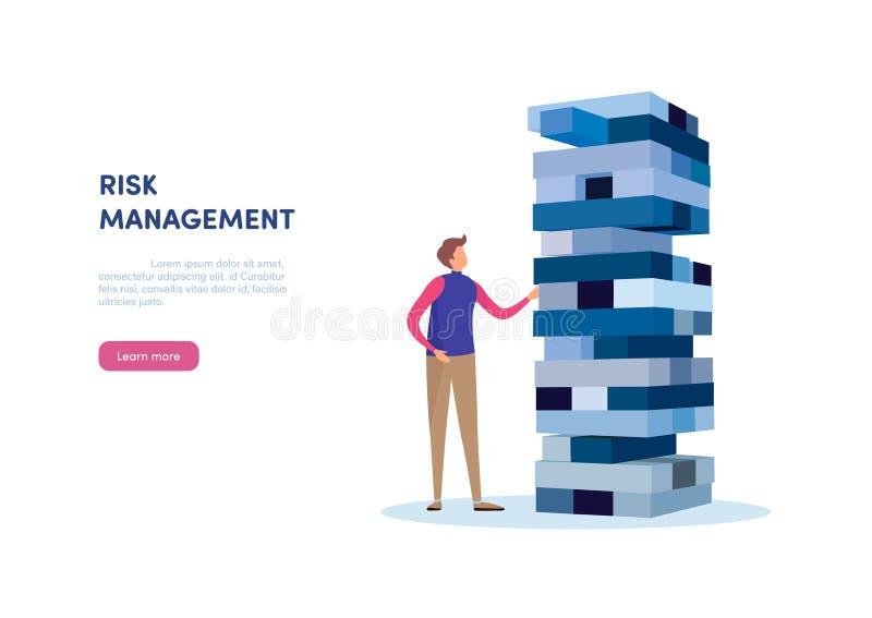 Het beheer van het risico Zakenman die plaatsend blokstapel op een toren gokken bedrijfsillustratievector vector illustratie