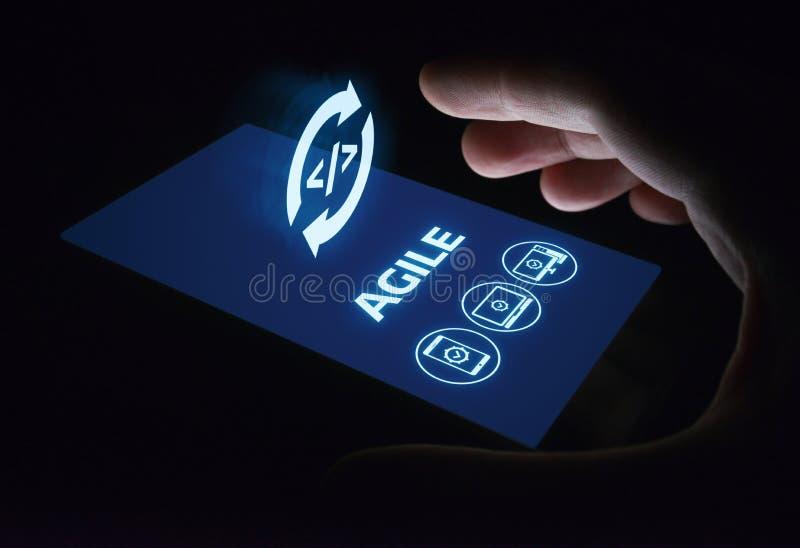 Het behendige Software-ontwikkeling Commerciële Concept van Internet Techology stock fotografie