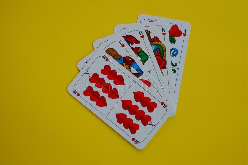 Het Beierse Hart van kaartspelschafskopf stock afbeelding