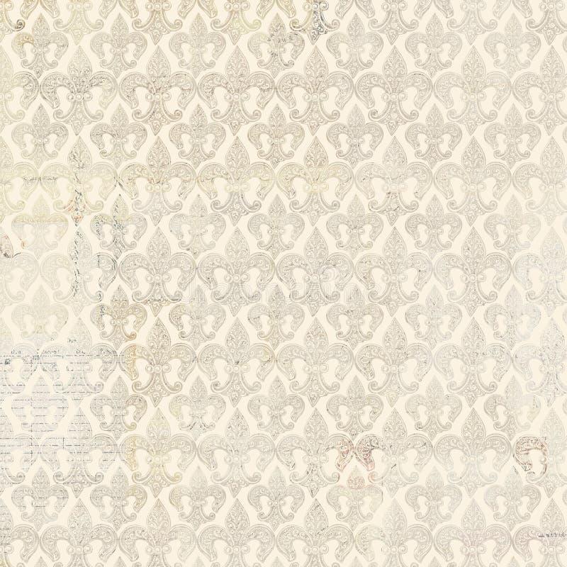 Het beige fleur-DE-lis herhaalt naadloos patroon royalty-vrije stock fotografie