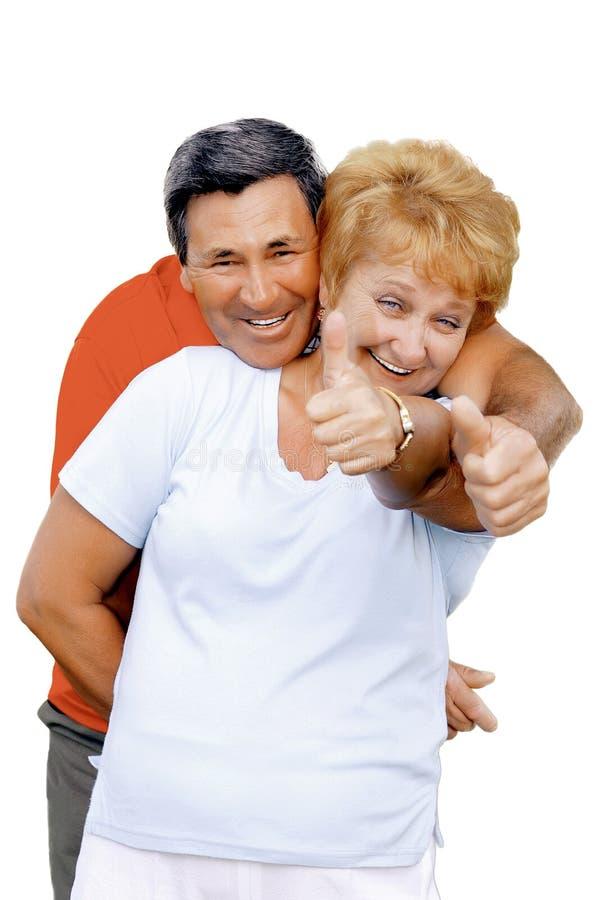 Het bejaarde getoonde paar beduimelt Al enkel fijn! stock foto's