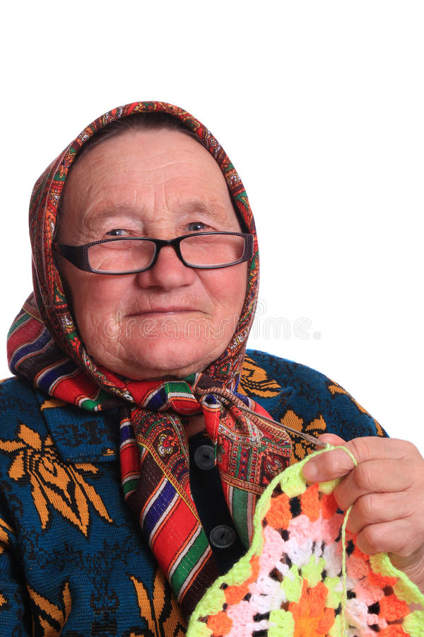 Het bejaarde in glazen met het servet royalty-vrije stock foto's
