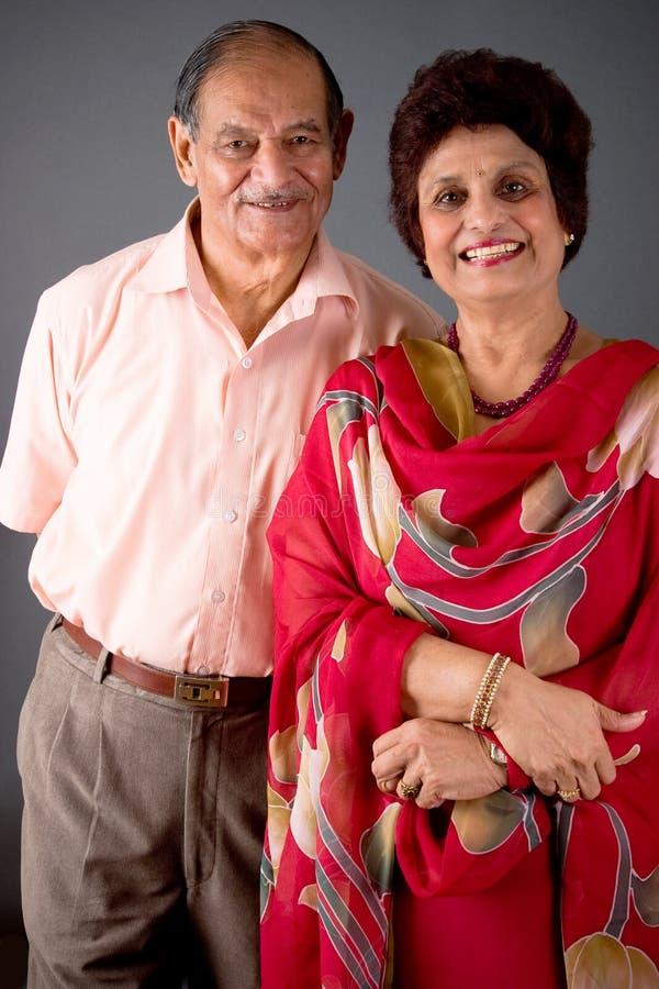 Het bejaarde Indische Paar van het Oosten stock afbeeldingen