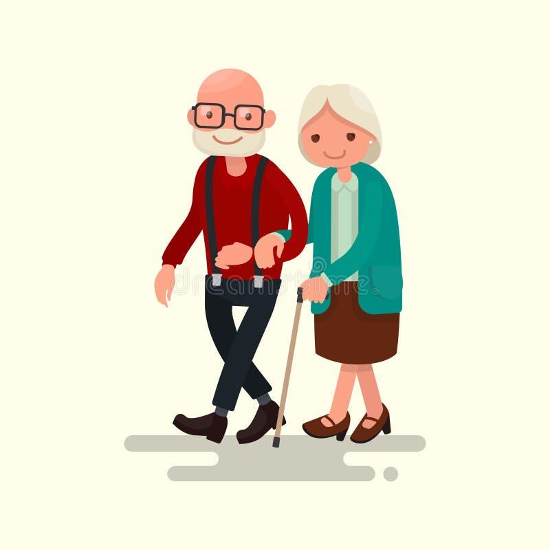 Het bejaarde Lopen van het Paar Vector illustratie stock illustratie