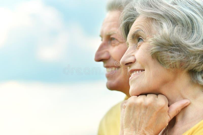 Het bejaarde paar ontspannen stock foto