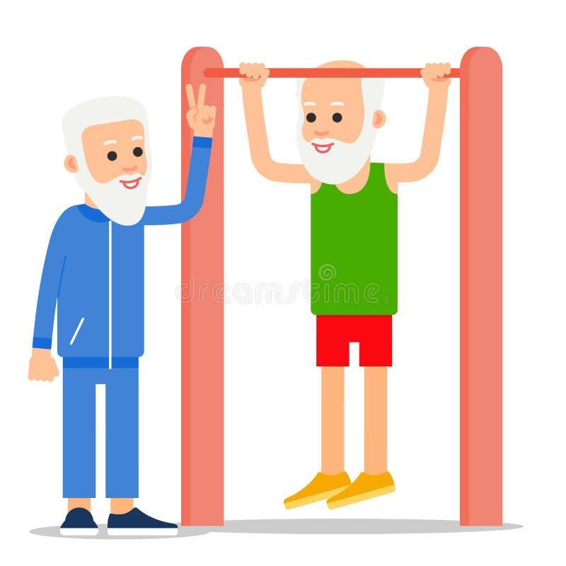 Het bejaarde trekt het uitoefenen uit Één het hogere doen trekkracht-UPS, anot royalty-vrije illustratie