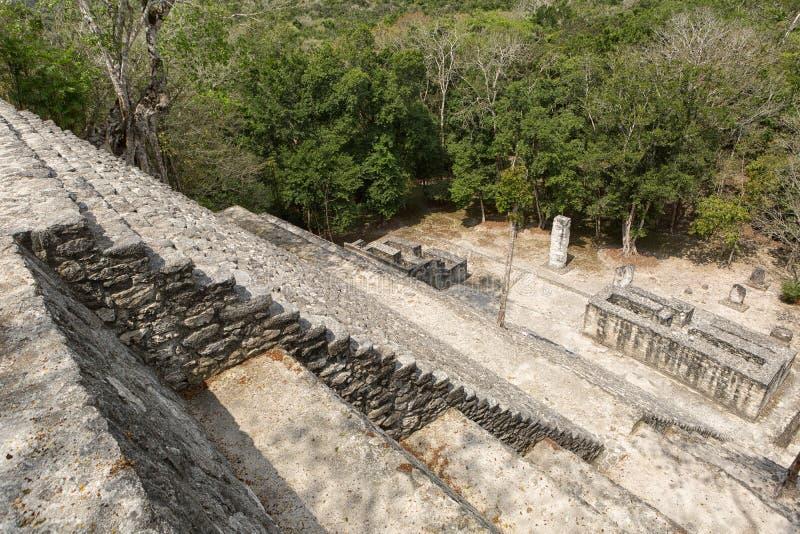 Het bekijken neer vanaf de bovenkant van een piramide de looppas van Calakmul maya in Mexico royalty-vrije stock fotografie