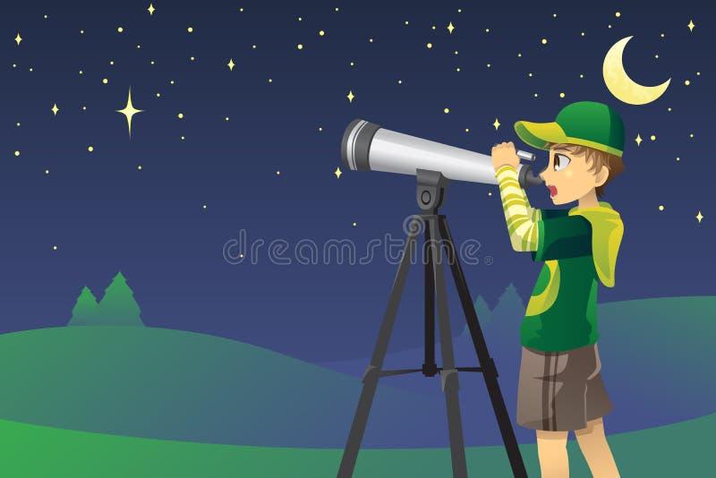 Het bekijken sterren met telescoop royalty-vrije illustratie