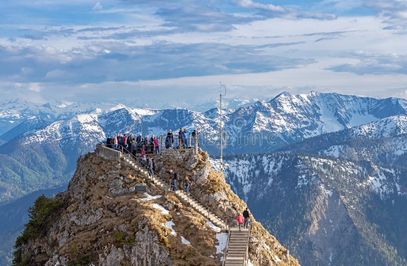 Het bekijken van platform op de top van Wendelstein-berg royalty-vrije stock afbeelding