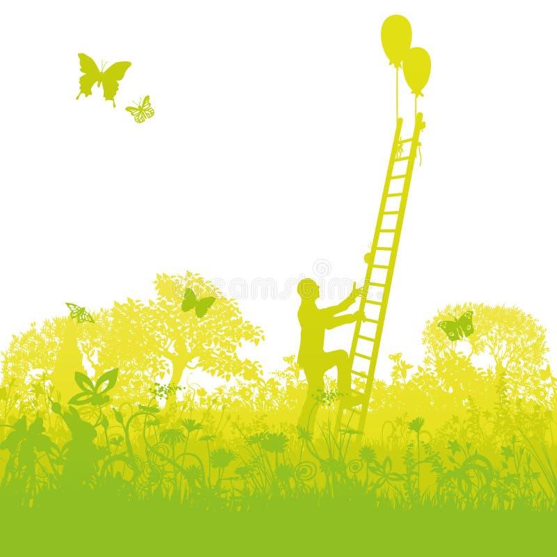 Het beklimmen op een ladder met succes uit het struikgewas stock illustratie