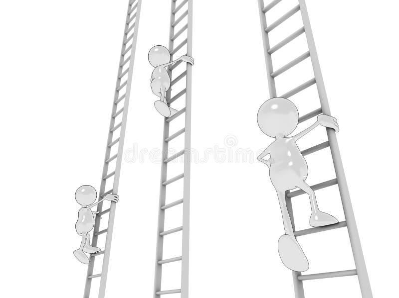 Het beklimmen van de ladder royalty-vrije illustratie