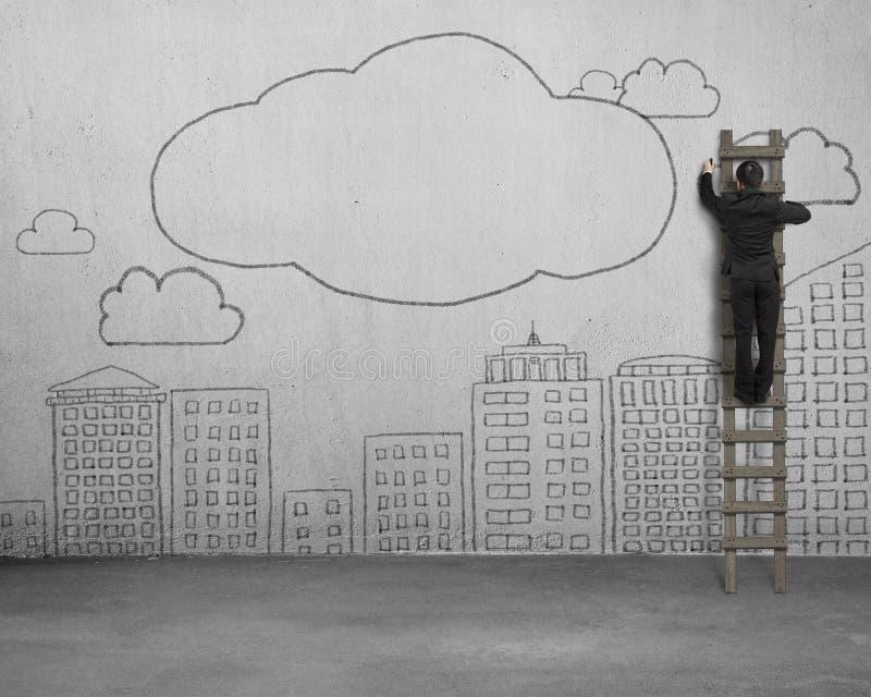 Het beklimmen van de wolken van de zakenmantekening met exemplaarruimte op beton vector illustratie