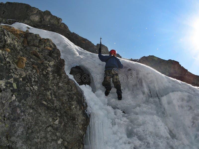Het beklimmen van het ijs royalty-vrije stock foto's