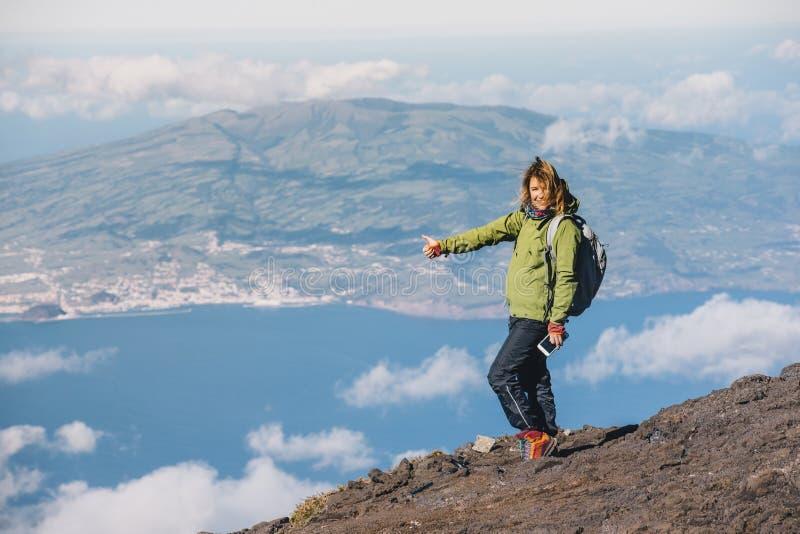 Het beklimmen van Pico-vulkaan op de Azoren stock afbeelding