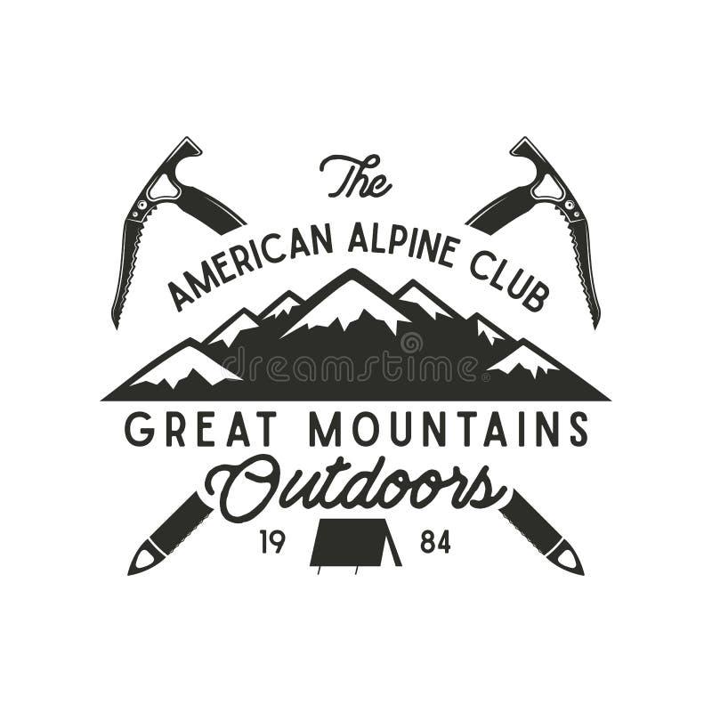 Het beklimmen van t-shirtontwerp Beklimt het hand getrokken uitstekende alpiene etiket met teksten, silhouett berg, materiaal let vector illustratie