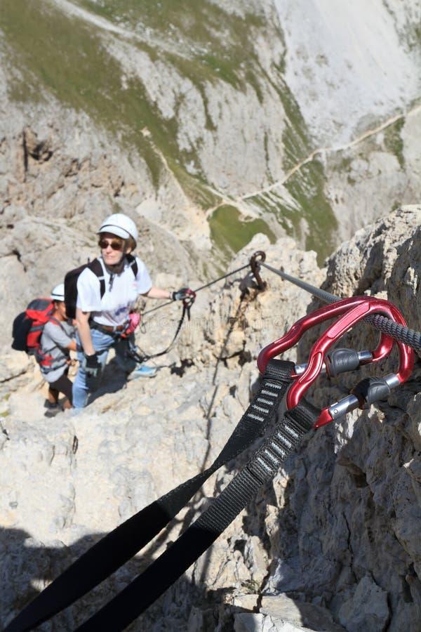 Het beklimmen via Ferrata royalty-vrije stock afbeeldingen