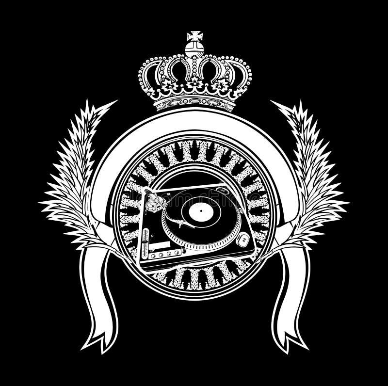 Het bekroonde Teken van DJ van de Wapenkunde met Draaischijven. stock illustratie