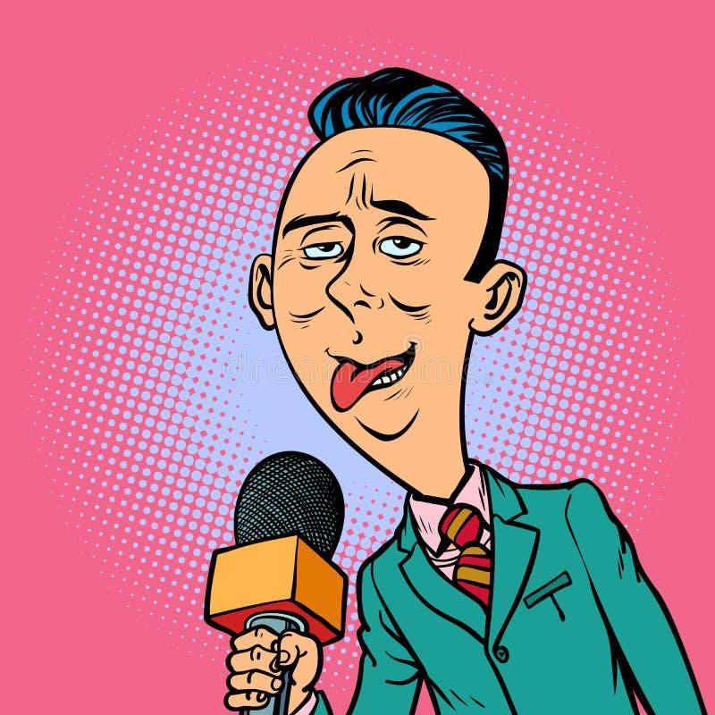 Het belachelijke grappige bizarre mannetje van de verslaggevers overeenkomstige journalist royalty-vrije illustratie