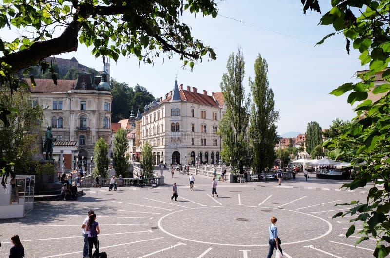 Het belangrijkste vierkant in centraal deel van Ljubljana royalty-vrije stock afbeelding