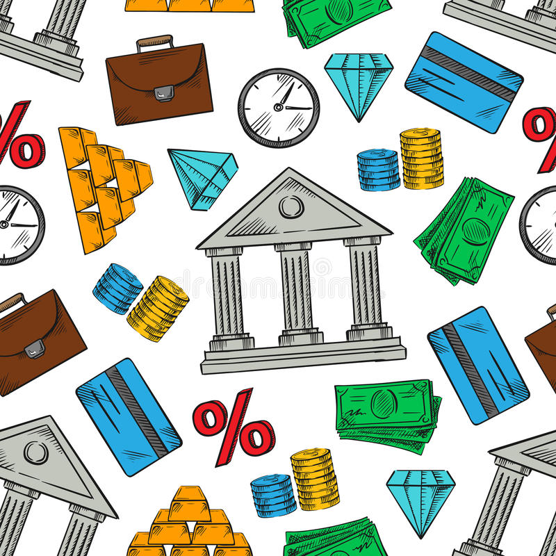 Het beleggen en financiële naadloze patroonachtergrond vector illustratie