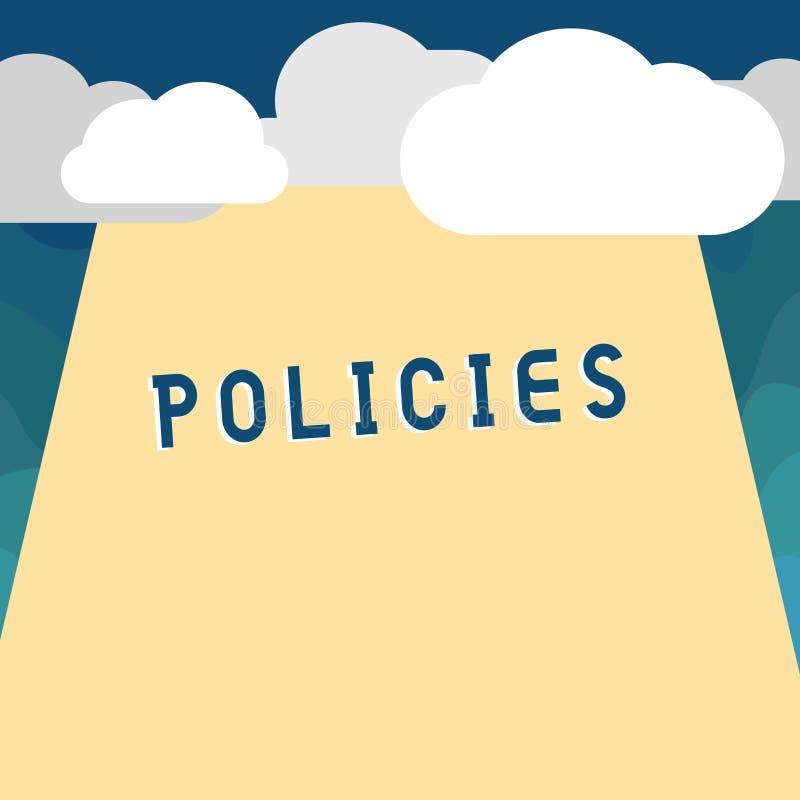 Het Beleid van de handschrifttekst Concept die cursus of principe van actie betekenen die door organisatie wordt goedgekeurd of w royalty-vrije illustratie