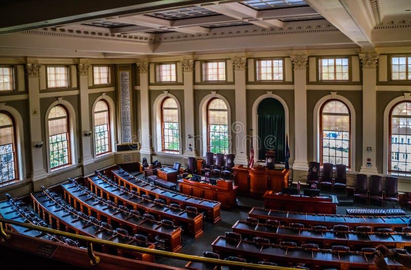 Het beleidscentrum in Augusta State Capital, Maine stock foto's